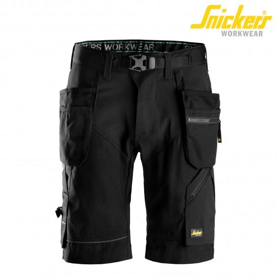 Kratke delovne hlače SNICKERS FlexiWork 6904-0404 črna/črna