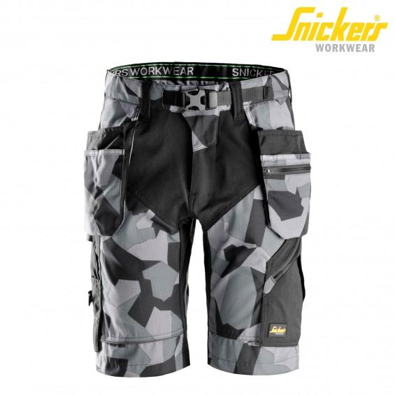 Kratke delovne hlače SNICKERS FlexiWork 6904-8704 črna/siva